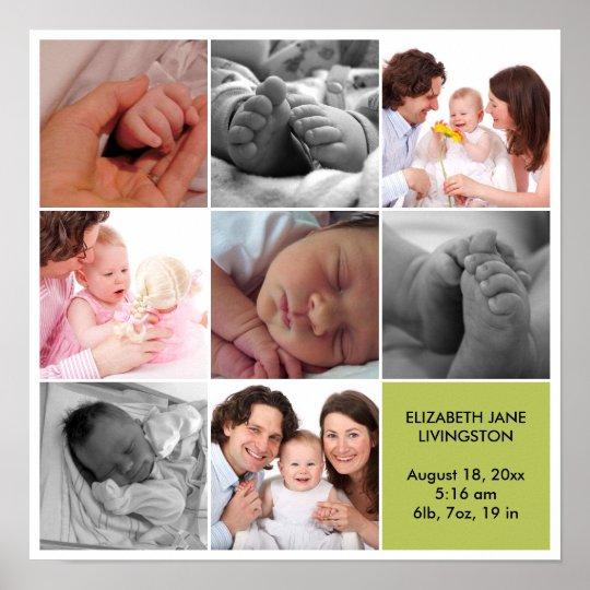 8 baby photo modern collage green white border poster