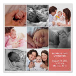 8 baby photo modern collage pink white border poster