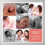 8 baby photo modern collage pink white border poster