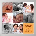 8 baby photo modern collage yellow white border