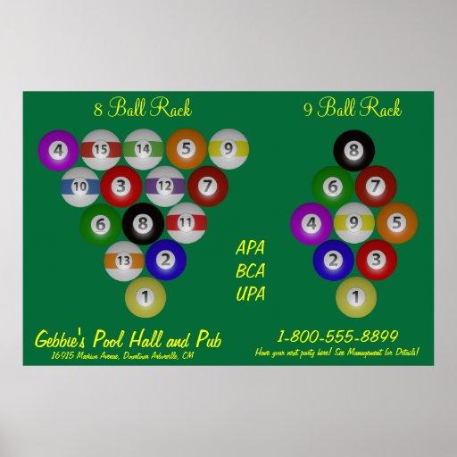 8 ball 9 ball rack billiard hall poster zazzle for 8 ball pool design