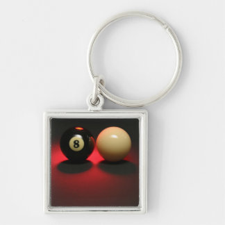 8 Ball and Cue Ball Key Ring