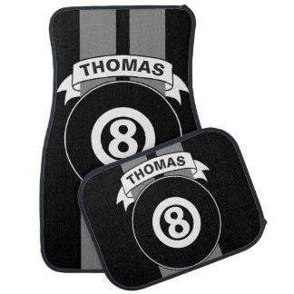 8 Ball Billiards Grey Race Stripes Personalized Car Mat