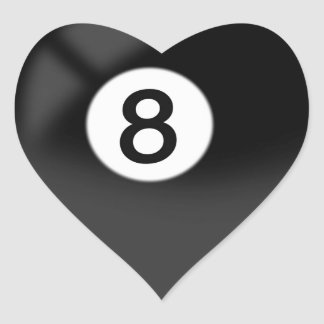 8 Ball - Billiards Heart Sticker