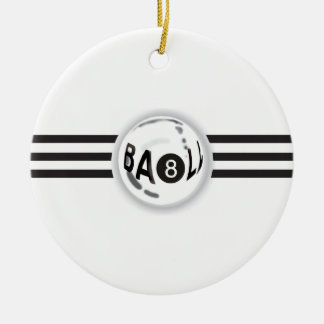 8 Ball Black Stripes Christmas Ornament