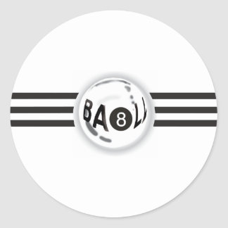 8 Ball Black Stripes Classic Round Sticker