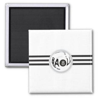 8 Ball Black Stripes Square Magnet