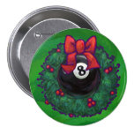 8 Ball Christmas Wreath Green 7.5 Cm Round Badge