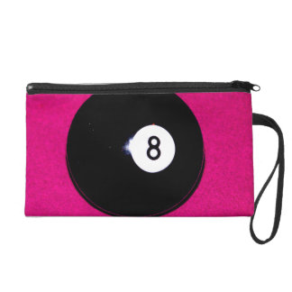 8 Ball on Pink Wristlet Clutches