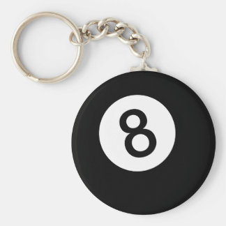 8 Ball or Black Ball Basic Round Button Key Ring