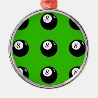 8-Ball Pool Silver-Colored Round Decoration