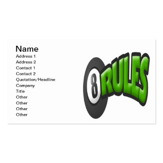 8 Ball Rules Pack Of Standard Business Cards