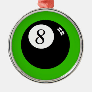 8 Ball Silver-Colored Round Decoration