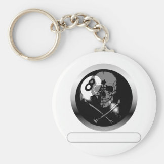8 Ball Skull and Crossbones Key Ring