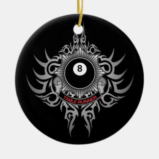 8 Ball Table Runner - Red Christmas Ornament