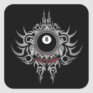 8 Ball Table Runner - Red Square Sticker