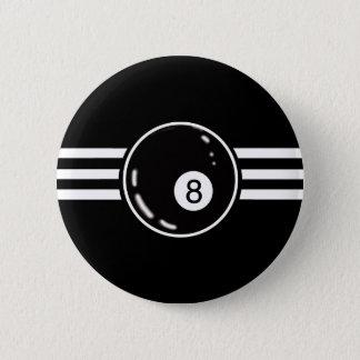8 Ball White Stripes 6 Cm Round Badge