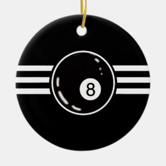 8 Ball White Stripes Christmas Ornament
