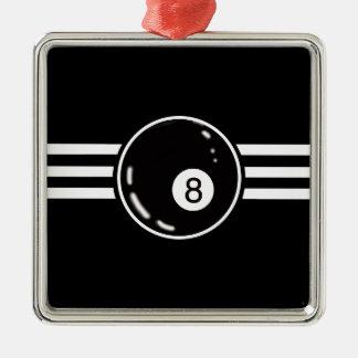 8 Ball White Stripes Christmas Ornament