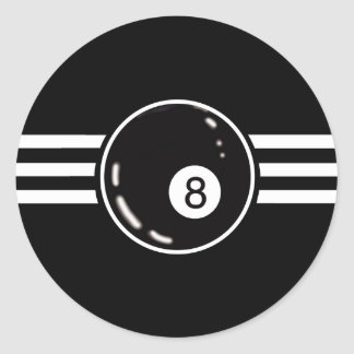 8 Ball White Stripes Classic Round Sticker