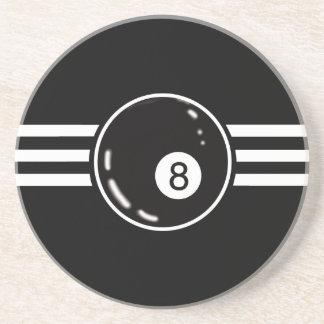 8 Ball White Stripes Coaster