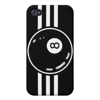 8 Ball White Stripes Cover For iPhone 4