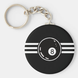 8 Ball White Stripes Key Ring