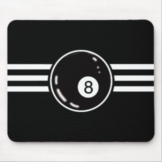 8 Ball White Stripes Mouse Mat