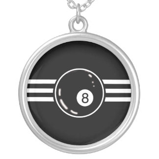 8 Ball White Stripes Silver Plated Necklace