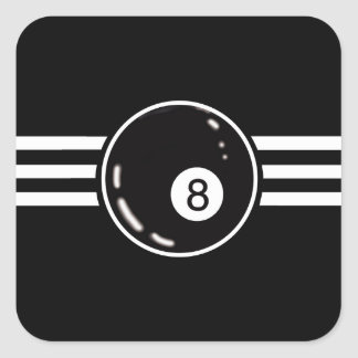 8 Ball White Stripes Square Sticker