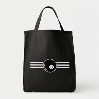 8 Ball White Stripes Tote Bag