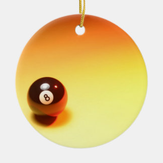 8 Ball Yellow Background Christmas Ornament