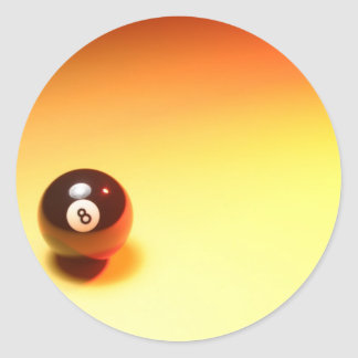 8 Ball Yellow Background Classic Round Sticker