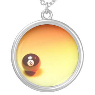 8 Ball Yellow Background Silver Plated Necklace