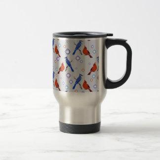 8-bit Bluejay Cardinal Pattern Coffee Mugs