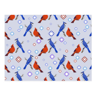 8-bit Bluejay Cardinal Pattern Postcard