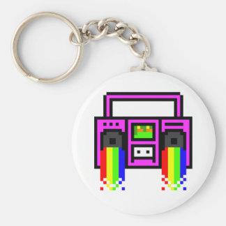 8 Bit Boom Box Basic Round Button Key Ring