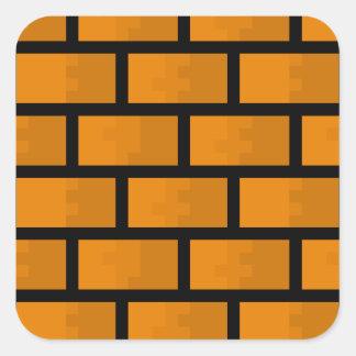 8 Bit Brick Wall Square Sticker