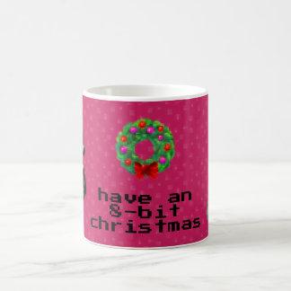 """8-Bit Christmas"" Coffee Mug (Dark Pink)"