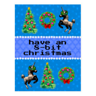 """8-Bit Christmas"" Holiday Post Card (Blue)"