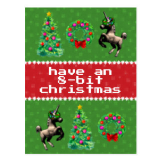 """8-Bit Christmas"" Holiday Post Card (Green)"