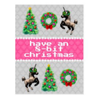 """8-Bit Christmas"" Holiday Post Card (Grey)"