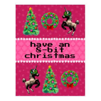 """8-Bit Christmas"" Holiday Post Card (Pink)"