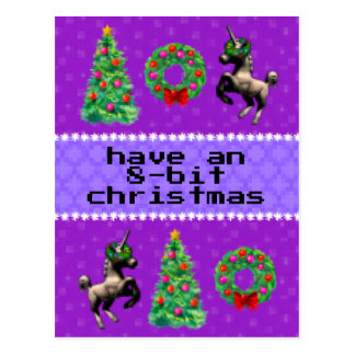 """8-Bit Christmas"" Holiday Post Card (Purple)"
