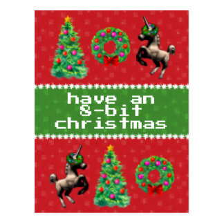 """8-Bit Christmas"" Holiday Post Card (Red)"