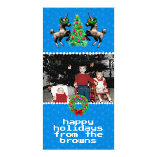 """8-Bit Christmas"" Photo Greeting Card (Blue)"