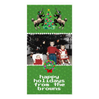 """8-Bit Christmas"" Photo Greeting Card (Green)"