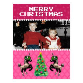 """""""8-Bit Christmas"""" Photo Holiday Postcard (Pink)"""