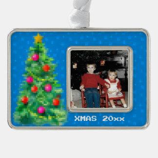 """8-Bit Christmas Tree"" Photo Ornament (Blue)"