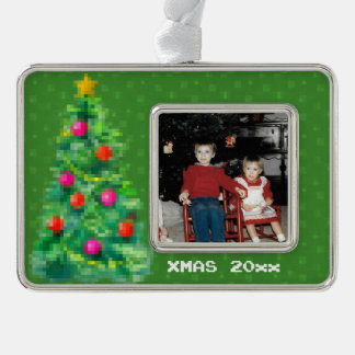 """8-Bit Christmas Tree"" Photo Ornament (Green)"